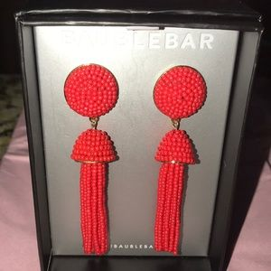 BAUBLEBAR Red Beaded Tassel Earrings